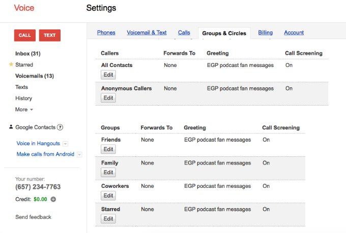 setting up google voice mail box