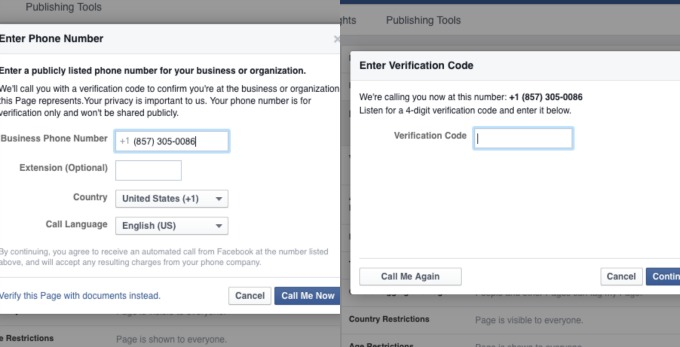 How to verify Facebook business page without phone number