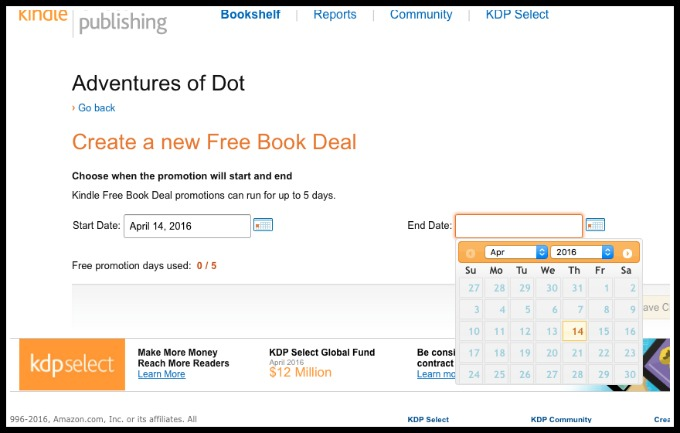 how to run a free book deal through Amazon