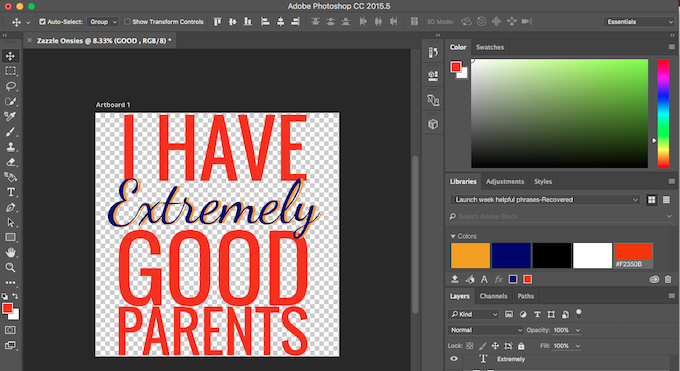 Using photoshop for text design on Zazzle shop