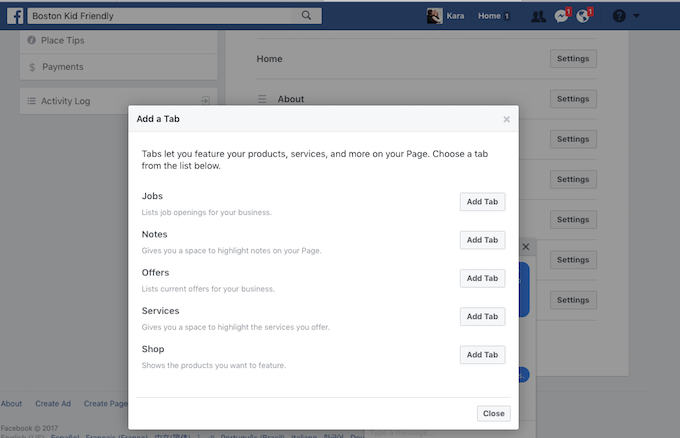 How to add a shop tab to a facebook page