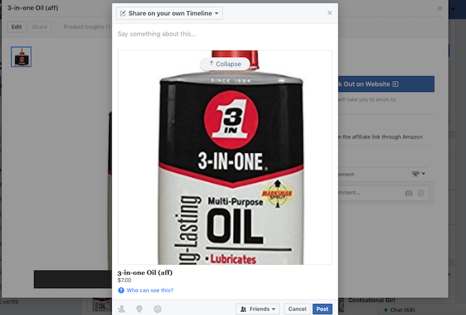 product links can actually get shared directly from facebook shop